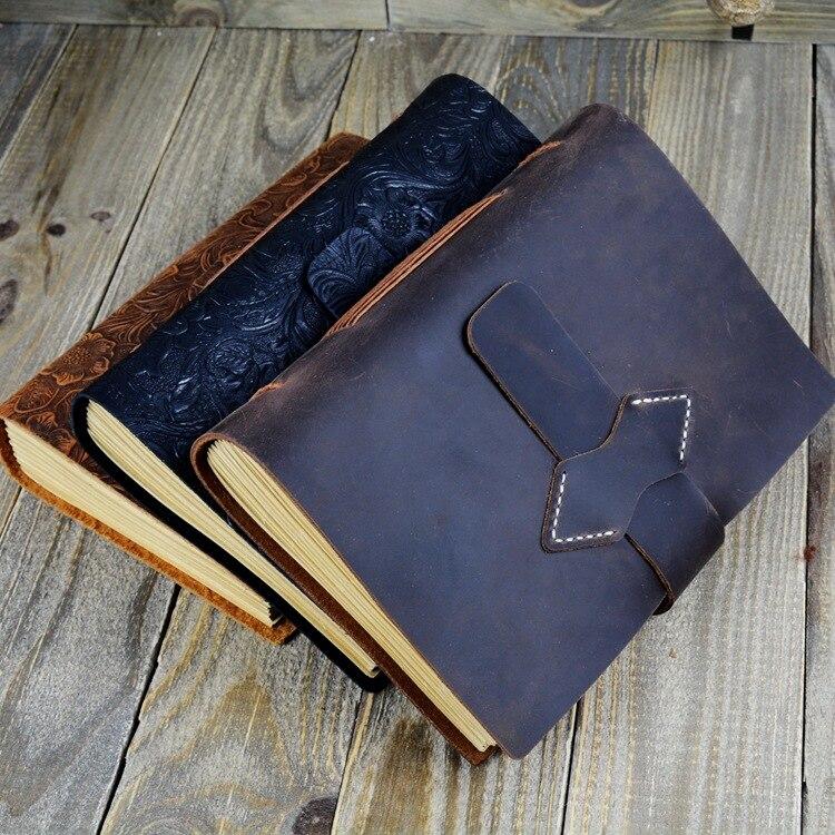 Carnet de notes carnet de notes en cuir fait main Vintage fantasaci carnet de croquis Journal de voyage papier d'écriture blanc carnet de notes cadeaux papeterie - 3