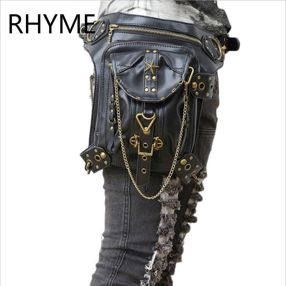 HS RHYME Brand PU Leather Unisex Hip Drop Leg Bag Waist Belt Bum Hip Purse Motorcycle Punk Rock Crossbody Messenger Shoulder Bag