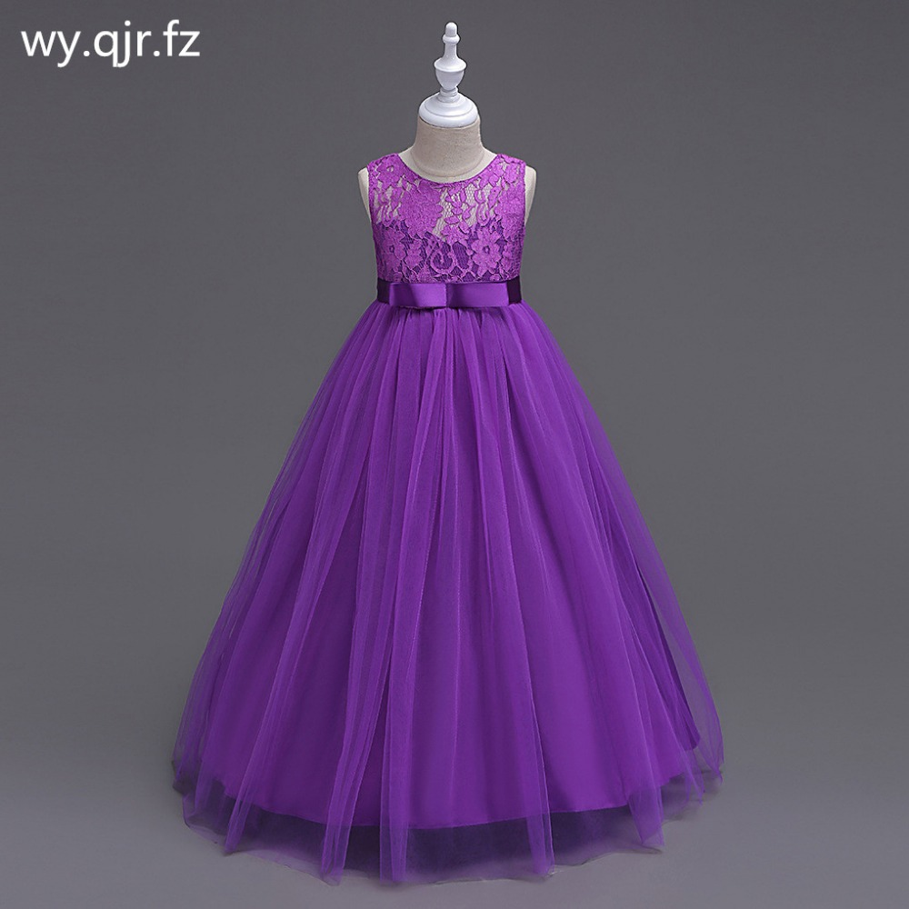 BH9999#Purple   Flower     Girl     Dresses   New children's wedding Party long fluffy   girl's   Lace Princess   dress   prom gown cheap Wholesale