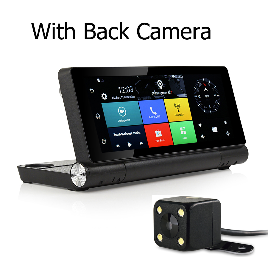 Udricare 7 inch 3G SIM Card Dashboard Android 5.0 WiFi Bluetooth GPS Dual Lens FHD1080P 1GB RAM Rear View Camera Internet DVR