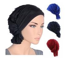 Capot muçulmano Hijab Womens Chiffon Quimioterapia Do Câncer de Cabeça Cap Envoltório Quimio Turbante Chapéu Headwear Gorros Tampa Acessórios de Cabelo