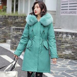 Image 3 - Fitaylor zima kobiety kurtka gruba ciepła bawełna płaszcz duże futro kołnierz z kapturem parki Faux futra królika czarny różowy śnieg znosić