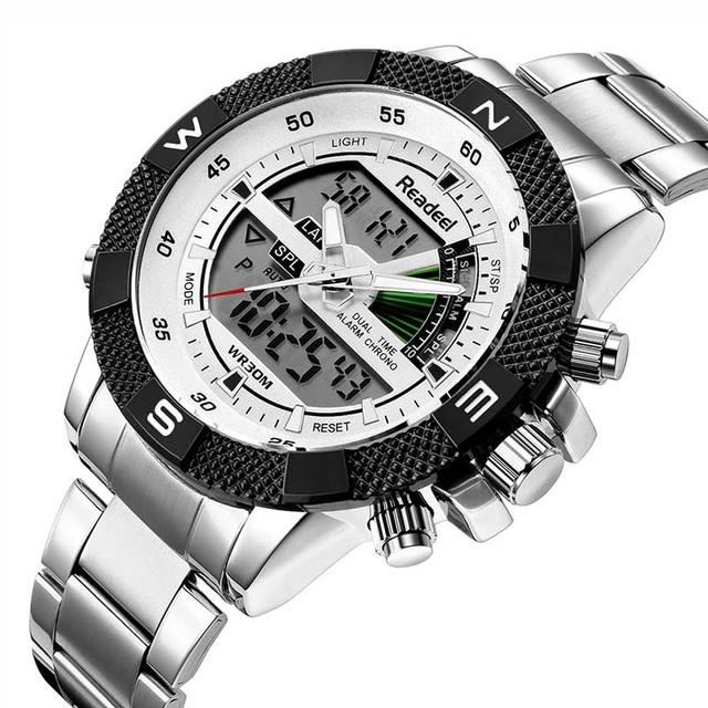 Men Sports Wrist Watch Men's Military Waterproof Watches Men Full Steel LED Digital Watch Clock Male reloj hombre 2018 READEEL