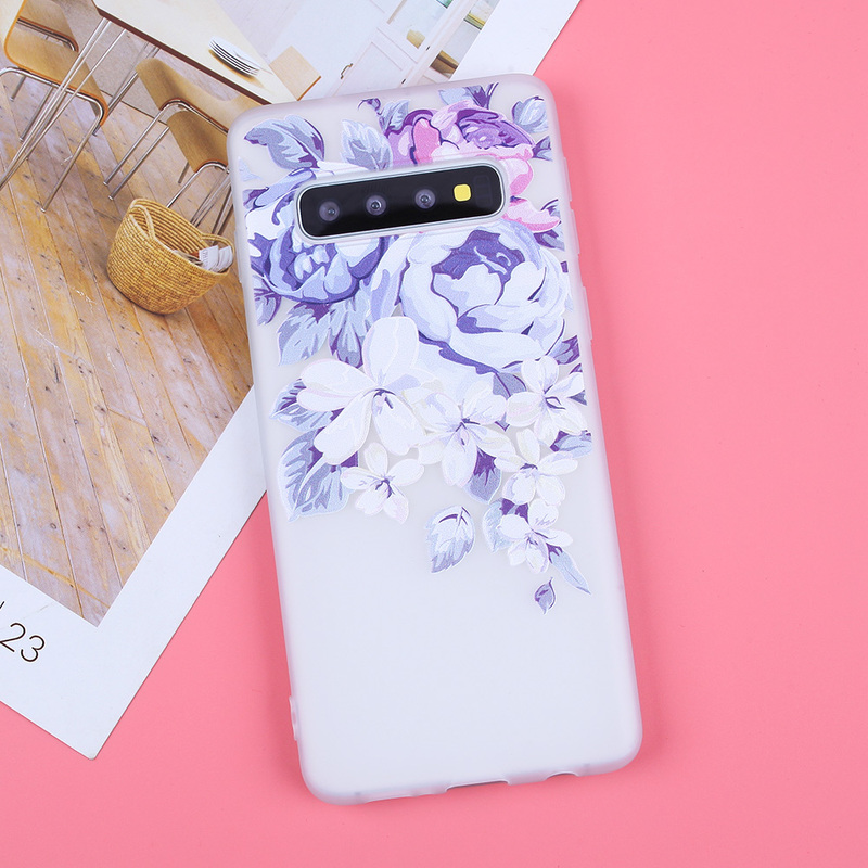 Image 3 - 3D Relief Soft TPU Cases For Samsung Galaxy S10 Flowers Covers For S7 Edge S8 Plus S9 Plus S10  Lite Plus Note 9 Silicone Capas-in Fitted Cases from Cellphones & Telecommunications