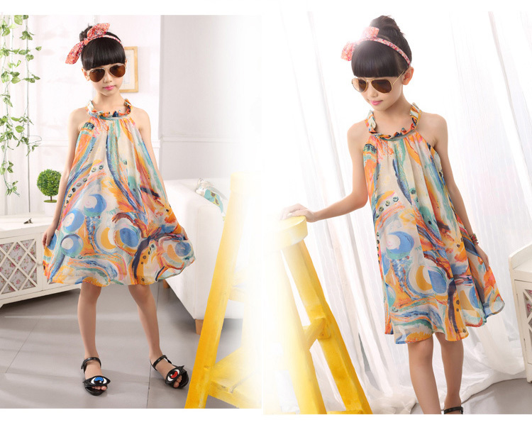 girls beach summer dress girl  flower print dresses casual sleeveless chiffon A -line loose dress children clothing new arrival (3).jpg