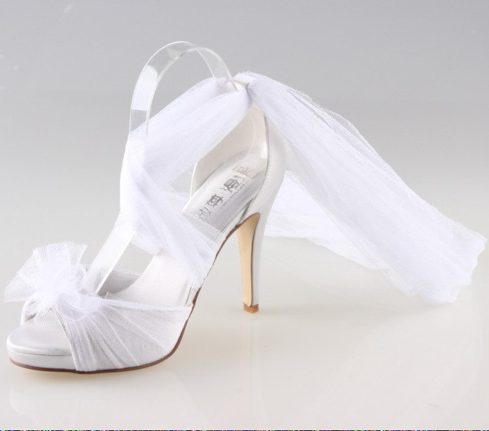 Handmade white fairy tale theme bridal shoes long tulle soft gauze open toe pumps wedding party homecoming quinceanera girl shoe
