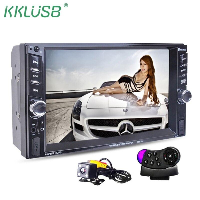 Автомагнитолы 2 DIN автомагнитолы 6.6 ''дюймовый ЖК-дисплей сенсорный экран автомобиль аудио стерео Bluetooth Hands Free камера заднего вида с рамкой