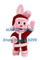pink Christmas bunny mascot costume adult size hot sale new XMAS RABBIT pet theme anime cosplay costumes carnival 2929