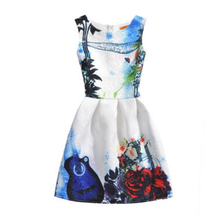 Girl Dress 2016 Summer Girls Style Fashion Sleeveless Printed Dresses Kids Clothes Party Princess Dress Vestido Girls Clothes -A red white blue striped little teenage girl dress 2016 summer style fashion sleeveless girls clothes kids sundress girls dresses