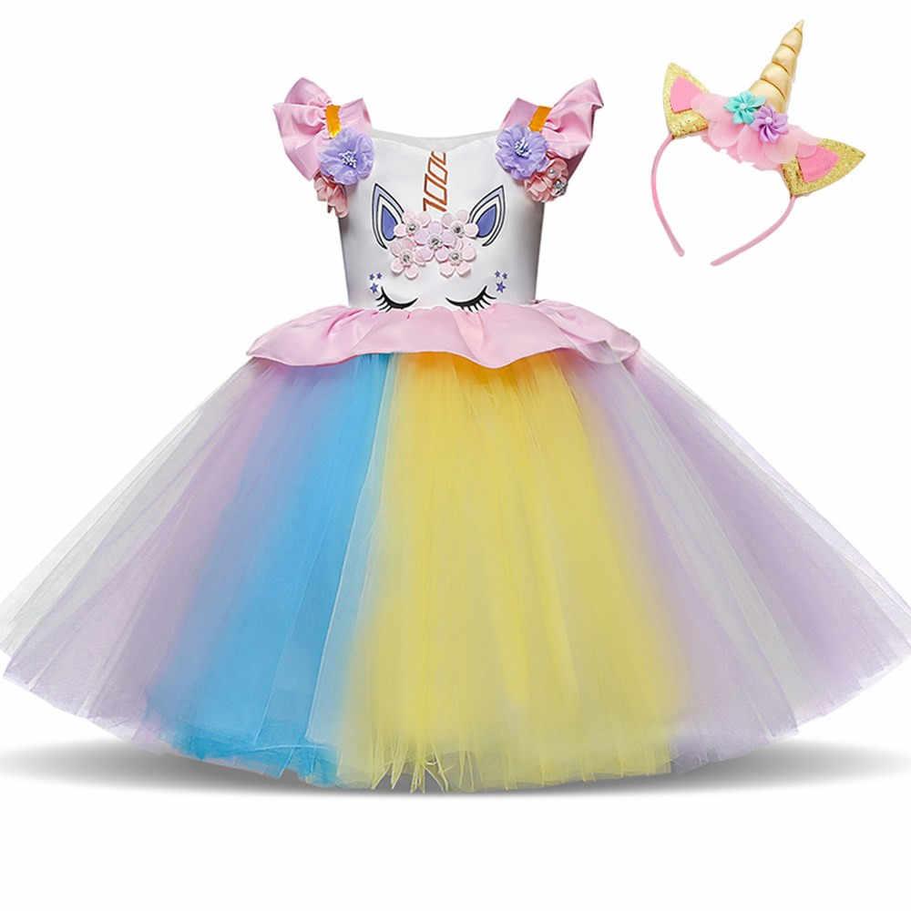 70b300547714 Toddler Girls Unicorn Party Dress Baby Girls Rainbow Tulle Dress Kids  Birthday Dresses Fairy Tale Carnival