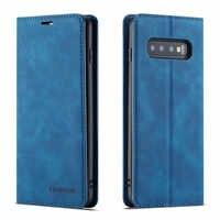 À Rabat En Cuir de luxe étui pour samsung Galaxy S10 S9 S8 Plus S10e Note 9 A6 A7 A8 2018 porte-carte Portefeuille Magnétique Support de Couverture de Livre