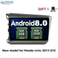 FUNROVER Quad Core Android 8 0 2 DIN 9 Car Dvd Video GPS For Honda Civic
