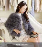 Vagary Hot Sale New Women Winter Short Slim Thick O Neck Full Sleeve Single Breasted Solid Ostrich Feather Faux Fur Coat