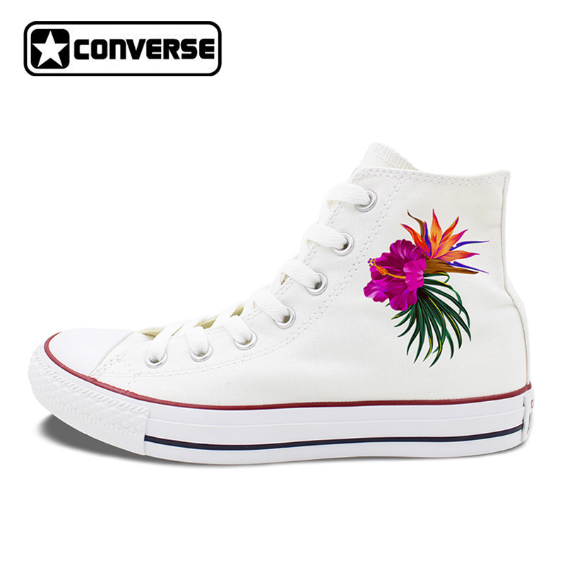 Hibiscus Flowers Design Classic Converse Shoes Women Canvas Sneakers Blossom Floral Shoe Watercolor Summer Garden kinston flowers