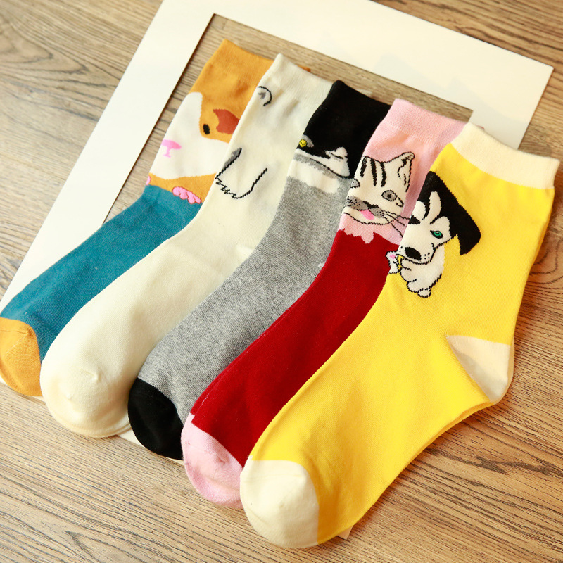 SP&CITY 5 Pairs Cute Cartoon Women Socks Cotton Animal Printed Short Funny Socks Korean Colored Art Comfort Happy Socks Female