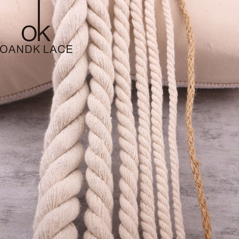 Beige Cotton Three twisted Rope String Cord Twine Sash Craft 5mm-20mm Cotton Thick Cords For Handmade Decorative