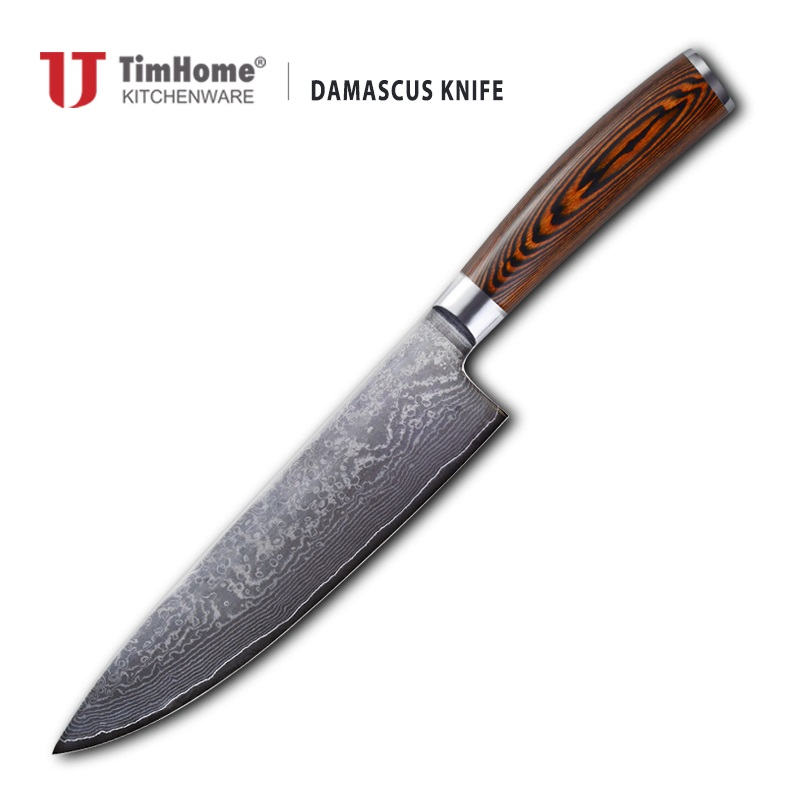 Damascus Steel with Red Pakka wood andle Knives for Kitchen Timhome with magnetic box