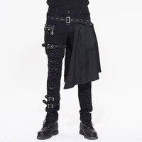 2017 Gothic Rock Male Grommet Leg Straps Long Pants With Detachable Apron Steampunk Black Men Fashion