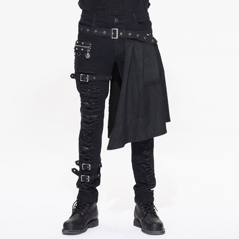 Devil Fashion Punk Men's Detachable Pants Punk Gothic Black Scottish Pants Men's Casual Cotton Pants With Hole Pants