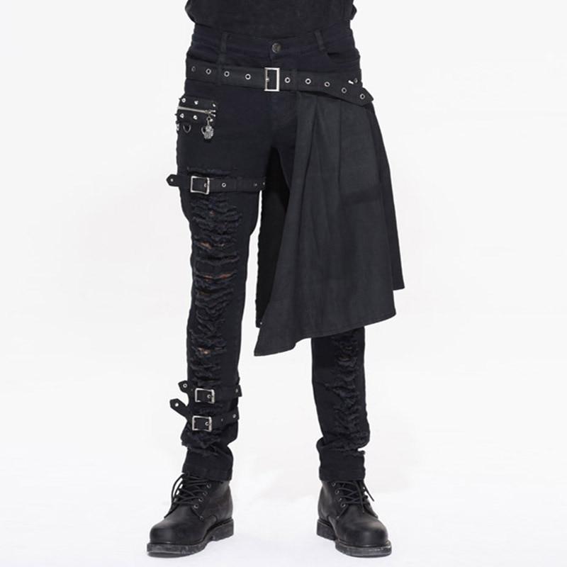 Devil Fashion Punk Men's Detachable Pants Punk Gothic Black Scottish Pants Men's Casual Cotton Pants With Hole Pants