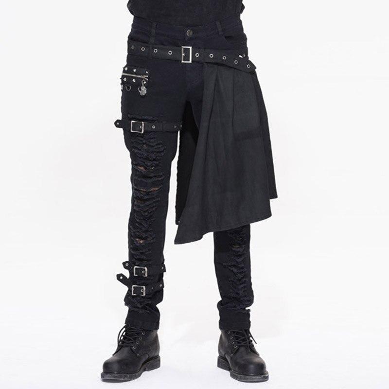 Devil Punk degli uomini di Modo Pantaloni Staccabili Steampunk Gothic Black Scozia Gonnellino Pantaloni Uomo Casual Pantaloni di Cotone con Gonnellino