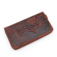 YISHEN HOT SELL Dragon Pattern Crazy Horse Genuine Leather Purse Fashion Long WalletMale Clutch Wallets Men