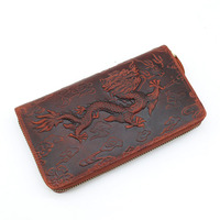 YISHEN HOT SELL Dragon Pattern Crazy Horse Genuine Leather Purse Fashion Long WalletMale Clutch Wallets Men
