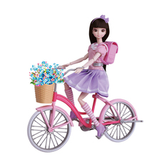 цены New Arrival Youth Campus Bike Girl Doll Asian Girl Kids Gift Toy Princess Bicycle Cute Doll Play Set fit for Barbie 1/6 Doll