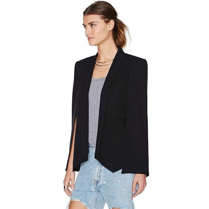 Lovely 2019 Fashion Women Long Sleeve Lapel Ol Cool Jacket Cloak Coat Cape Casual Split Poncho Blazer Suit Blazers