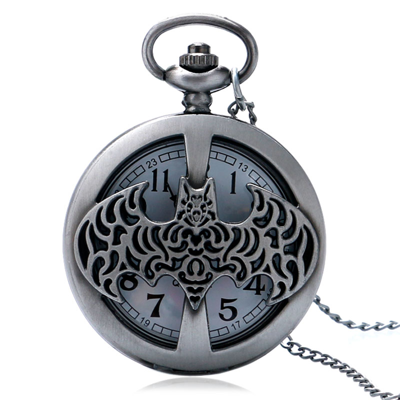 Men's Clock Time Round Hollow Batman Dark Gray Steampunk Quartz Pocket Watch With Necklace Chain Gift For Unisex cool cartoon anime kuroshitsuji designer pocket watch quartz round fob clock steampunk men women gift with necklace chain