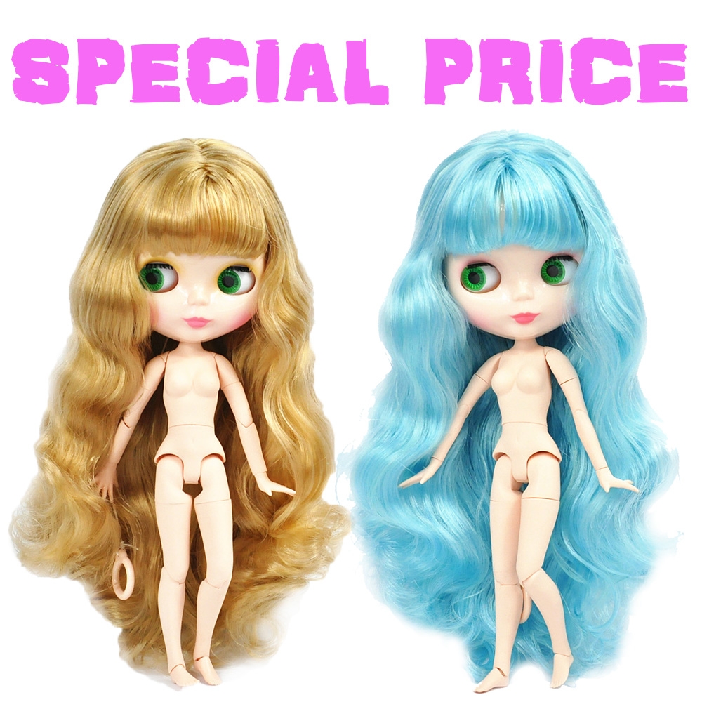 Factory Special Offer Blyth Doll Joint Body DIY Nude BJD toys Fashion Blyth Dolls girl Christmas gift mix color hair White Skin blyth nude doll joint body with long wavy white hair 4 colors big eyes 1 6 bjd blyth dolls suitable diy makeup toys