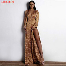 Keating Berus 2018 Women Sexy Spring And Summer Deep-V Small Dot Elegant Floor-Length Dress