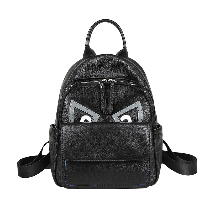 Fashion Moster Eye Design Black Women Backpack Black 100 Genuine Cow Leather Youth Girl Bagpack Student