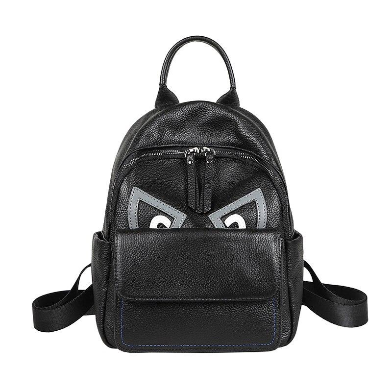 패션 moster 눈 디자인 블랙 여성 배낭 블랙 100% 정품 암소 가죽 청소년 소녀 bagpack 학생 학교 가방-에서백팩부터 수화물 & 가방 의  그룹 1