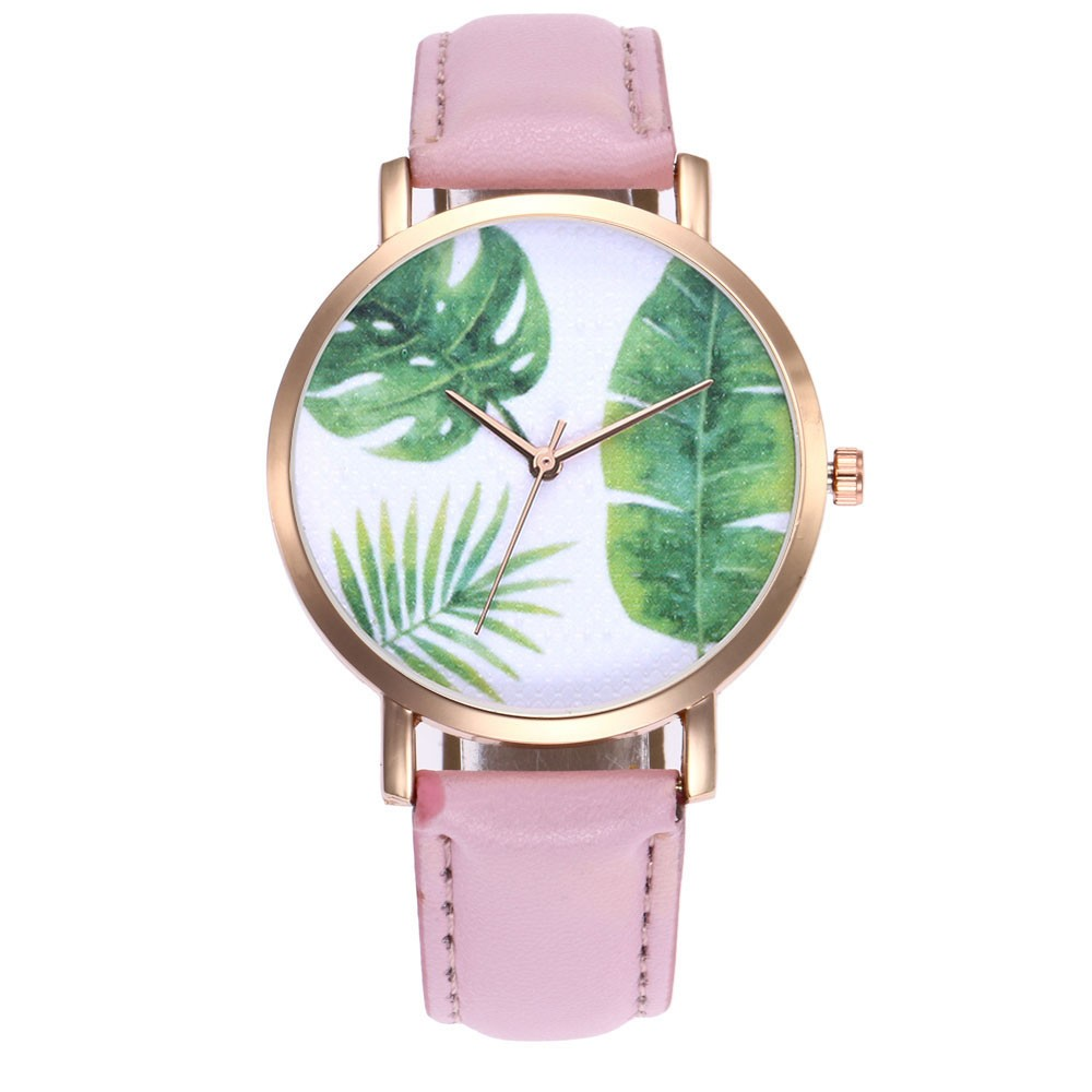 Women Watches Ladies Green Plant leaf printing Leather Band Watch fashion clock relogio feminino relogio feminino reloj mujer relogio feminino dourado reloj mujer
