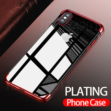 FlanaGan Luxury Plated TPU Case For iPhone 8 7 Transparent Ultra Thin Silicone Cover For iPhone 8 7 6 6S Plus Phone Accessories