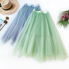 AcFirst Summer New Blue Green Women Skirts Mesh High Waist A-Line Mid-Calf Sexy Long Clothing Asymmetrical