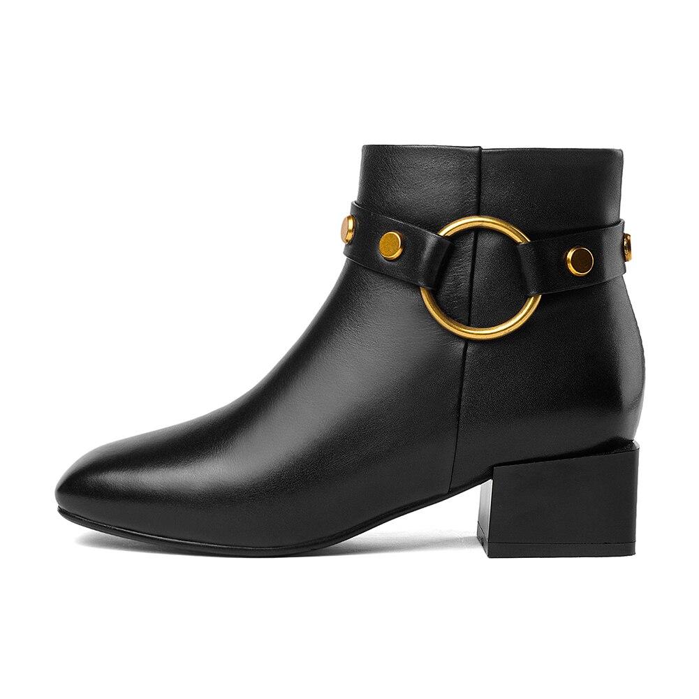 Ayakk.'ten Ayak Bileği Çizmeler'de DoraTasia Marka Yeni hakiki Inek Deri Kare Ayak Kış batı Çizmeler Ayakkabı Kadın Zip Up Eklemek Kürk yarım çizmeler Kadın Ayakkabı çizme'da  Grup 2