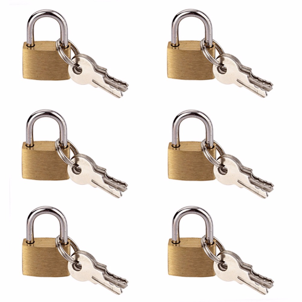 Mini Padlocks Pad Locks Security Zipper Lock Portable Padlock For Bags 6 Pcs 20 Mm Small Metal Brass Tiny Travel Luggage Suitcase Bag