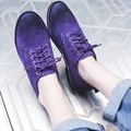 Retro Vintage British Style Round Toe Crossed Lace-up Black Purple Brown Soft-sole Women's Flats 2017 New Design All-match Shoes