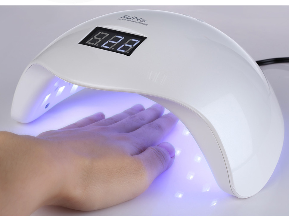 RS NAIL 48W Dual UV LED Nail Lamp Nail Dryer Gel Polish Curing Light Nail Machine with Bottom 30s/60s LCD Display Nail Art Tools