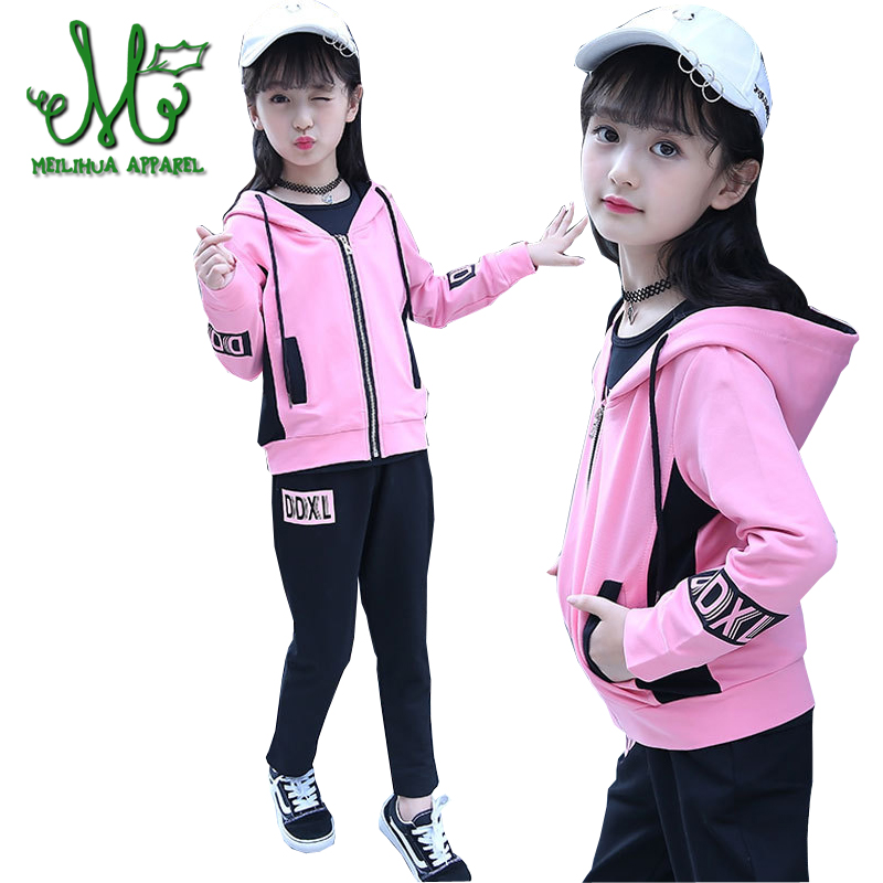 Girl Sports Suits Children Sportswear Spring Autumn Cotton Hooded Jacket+T-shirt+Pants 3Pcs Girls Tracksuits For 4 -14 YearsGirl Sports Suits Children Sportswear Spring Autumn Cotton Hooded Jacket+T-shirt+Pants 3Pcs Girls Tracksuits For 4 -14 Years