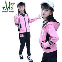 Girl Sports Suits Children Sportswear Spring Autumn Cotton Hooded Jacket+T shirt+Pants 3Pcs Girls Tracksuits For 4 14 Years