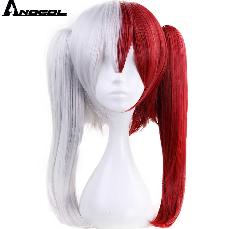 Anogol Cola de Caballo doble mi Boku no Hero Universidad Todoroki Shoto medio blanco rojo largo recto sintético Cosplay peluca para disfraz