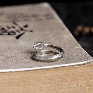 Image 4 - Zavorohin Vintage véritable 925 en argent Sterling ouverture réglable serpent bagues personnalité Animal bijoux comme cadeau