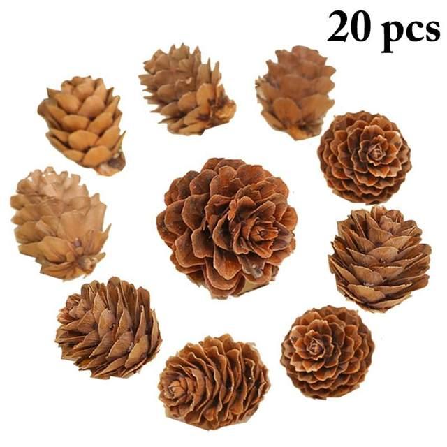 20PCS Wooden Natural Pinecone Christmas Tree Hanging DIY 3D Vivid Pine Cones Ornaments Party Christmas Decor Home Decors 13