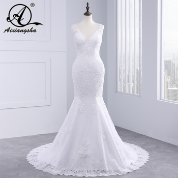 vestido de noiva Cheap Luxury Mermaid Wedding Dress Gowns Sexy V Neck Vintage Custom Made Lace Wedding Dresses long white mermaid v neck open back lace court train sexy vintage formal wedding dresses fashion wedding gowns custom made