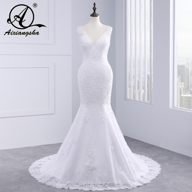 vestido de noiva Cheap Luxury Mermaid Wedding Dress Gowns Sexy V Neck Vintage Custom Made Lace Wedding Dresses 2018