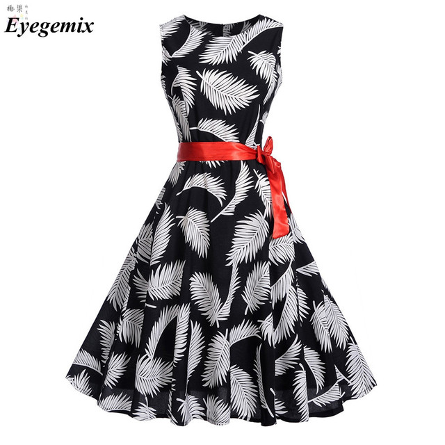 3daf13e6293 Retro PinUp Tutu Dresses Hepburn 50S 60s Rockabilly Robe Feather Print  Black Dress Vintage Women Feminino Vestidos Swing Dresses