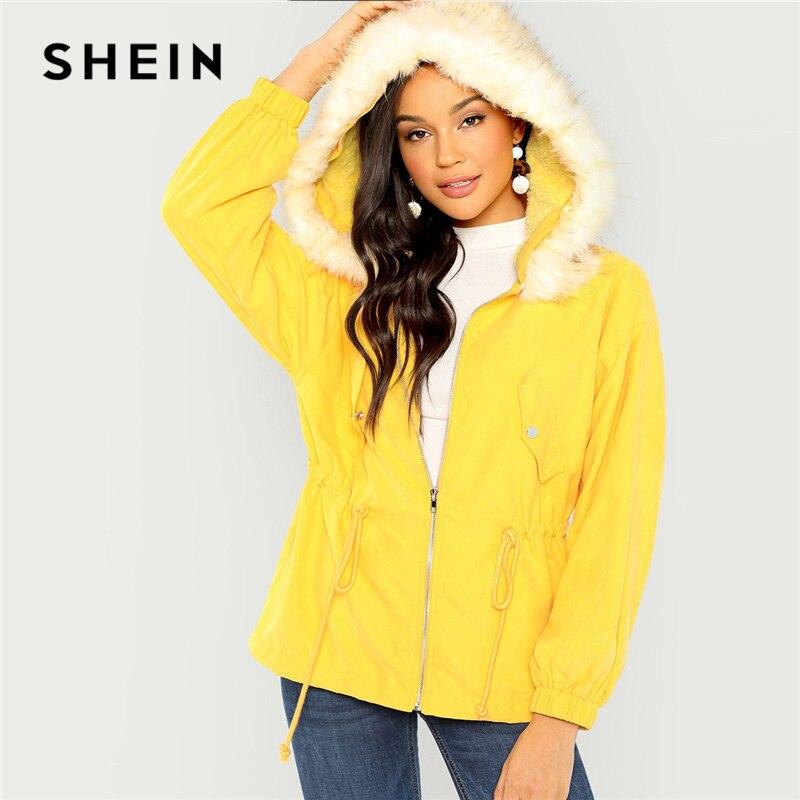 Шеин желтый элегантный дизайн Твердые Кнопка шнурок талии на молнии искусственный мех средства ухода за кожей Шеи пальто осень повседневно...
